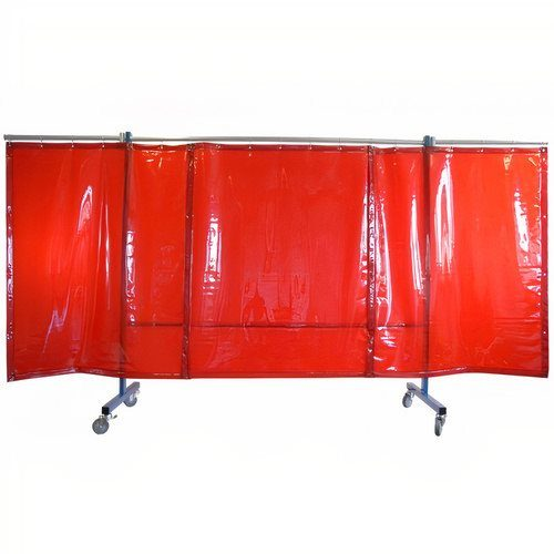3 Panel Red Portable Welding Screen