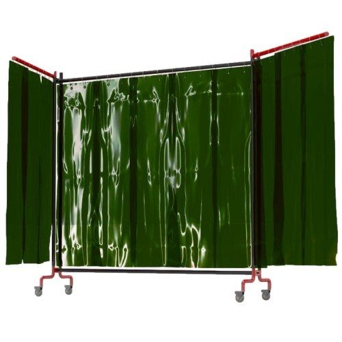 Green Portable Welding Curtain with Side Arms