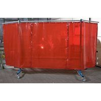 3 Panel Red Portable Welding Screen In Use
