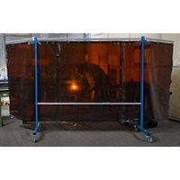 3 Panel Extra Heavy Duty Portable Bronze Welding Screen in use frame