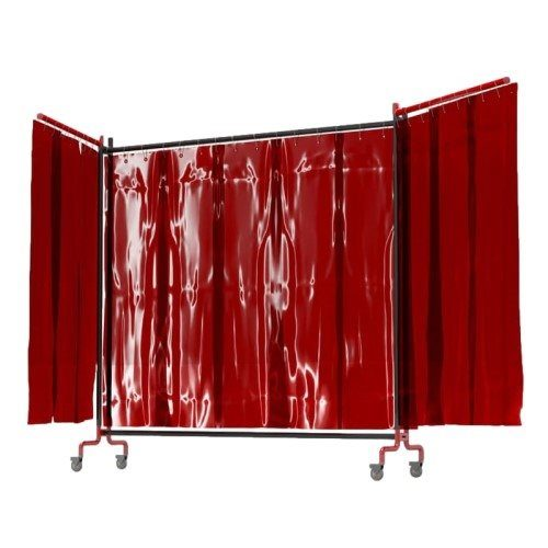Red Portable Welding Curtain with Side Arms
