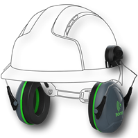 Helmet Mounted Ear Defenders in use
