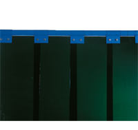 Welding Strip Curtain in Green fitted with clips