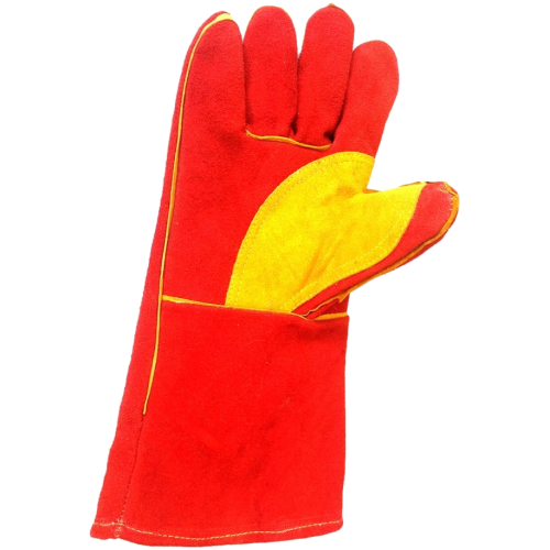 Heavy Duty Red MIG Welding Gloves with Reinforced Palm & Thumb
