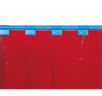 Welding Strip Curtain in Red fitted with clips
