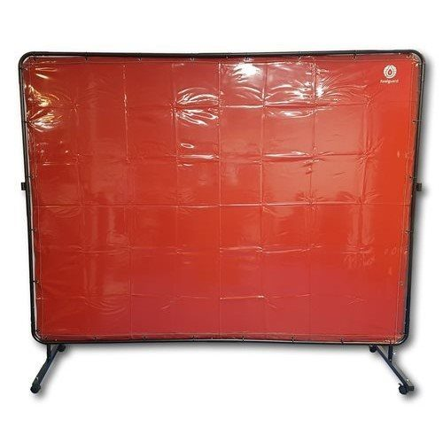 Red Portable Welding Screen 2400mm x 1800mm with Frame & Castors