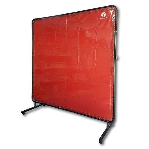 Red Portable Welding Screen 1800mm x 1800mm with Frame & Castors