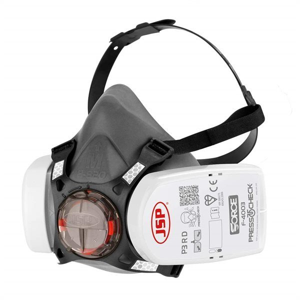 JSP Force 8 Size Short Wide Half Mask c/w Press to Check P3 Filters