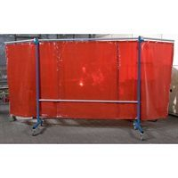 Rear View of 3 Panel Red Portable Welding Screen In Use