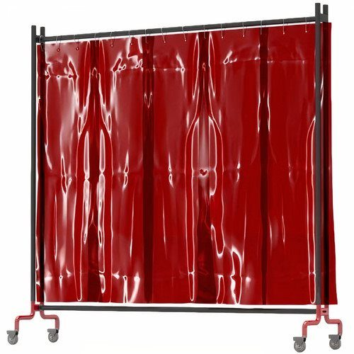 Red Heavy Duty Portable Welding Curtain with Castors